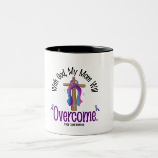 Thyroid Cancer With God My Mom Will Overcome Two-Tone Coffee Mug