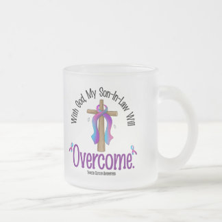 Thyroid Cancer With God My Son-In-Law Will Overcom Frosted Glass Coffee Mug