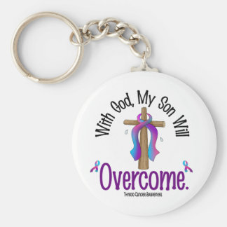 Thyroid Cancer With God My Son Will Overcome Keychain