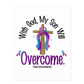 Thyroid Cancer With God My Son Will Overcome Postcard