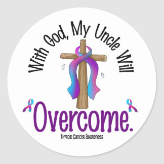Thyroid Cancer With God My Uncle Will Overcome Classic Round Sticker