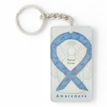 Thyroid Disease Angel Awareness Ribbon Keychain