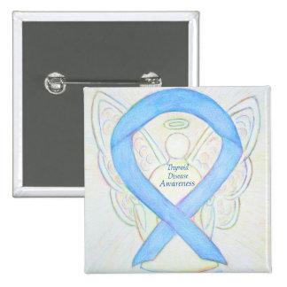 Thyroid Disease Awareness Angel Blue Ribbon Pin