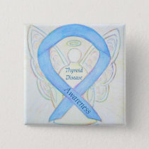 Thyroid Disease Awareness Angel Blue Ribbon Pin