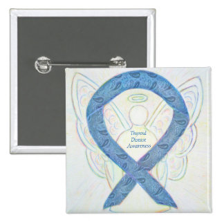Thyroid Disease Awareness Angel Paisley Ribbon Pin