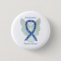 Thyroid Disease Awareness Angel Paisley Ribbon Pin