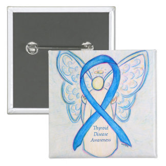 Thyroid Disease Awareness Blue Angel Ribbon Pins