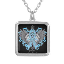 Thyroid Disease Awareness Cool Wings Silver Plated Necklace