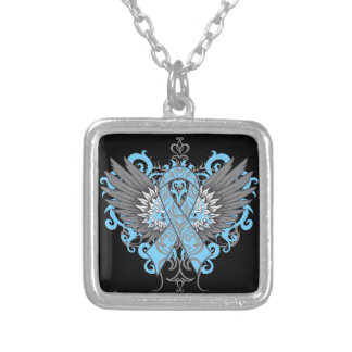 Thyroid Disease Awareness Cool Wings Square Pendant Necklace
