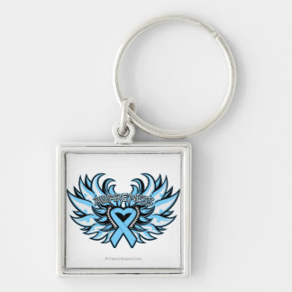 Thyroid Disease Awareness Heart Wings.png Silver-Colored Square Keychain