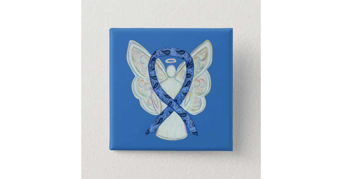 Thyroid Disease Awareness Paisley Ribbon Angel Pin Zazzle Com
