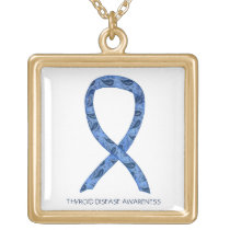 Thyroid Disease Awareness Paisley Ribbon Necklace