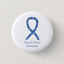 Thyroid Disease Awareness Paisley Ribbon Pin