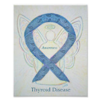 Thyroid Disease Awareness Ribbon Angel Art Poster