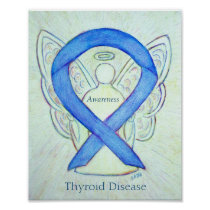 Thyroid Disease Awareness Ribbon Angel Art Prints