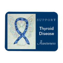 Thyroid Disease Awareness Ribbon Angel Magnets