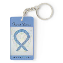 Thyroid Disease Awareness Ribbon Art Keychain