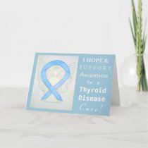 Thyroid Disease Awareness Ribbon Blue Angel Cards