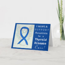 Thyroid Disease Awareness Ribbon Paisley Blue Card