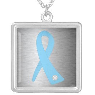 Thyroid Disease Awareness Ribbon Square Pendant Necklace