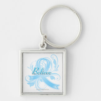 Thyroid Disease Believe Flourish Ribbon Silver-Colored Square Keychain