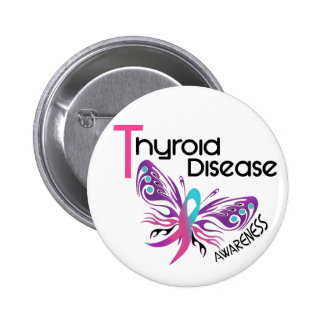 Thyroid Disease BUTTERFLY 3.1 2 Inch Round Button