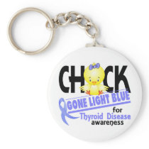 Thyroid Disease Chick Gone Light Blue 2 Keychain