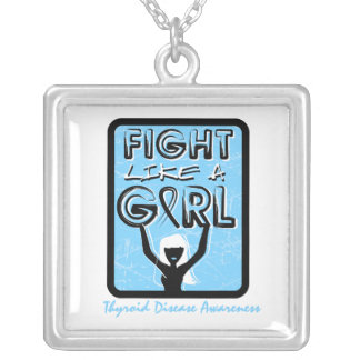 Thyroid Disease Fight Like A Girl Slogan Sign Square Pendant Necklace
