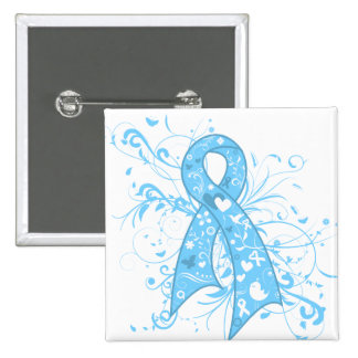 Thyroid Disease Floral Swirls Ribbon 2 Inch Square Button