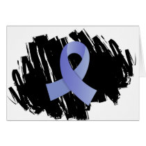 Thyroid Disease Light Blue Ribbon With Scribble Card