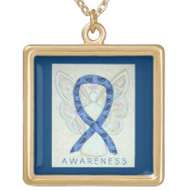Thyroid Disease Paisley Awareness Ribbon Necklace