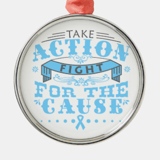 Thyroid Disease Take Action Fight For The Cause Round Metal Christmas Ornament