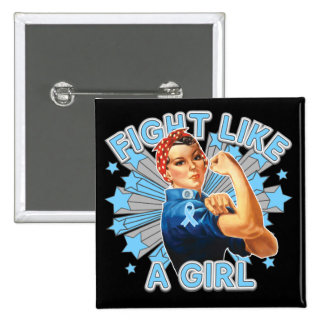 Thyroid Disease Vintage Rosie Fight Like A Girl 2 Inch Square Button