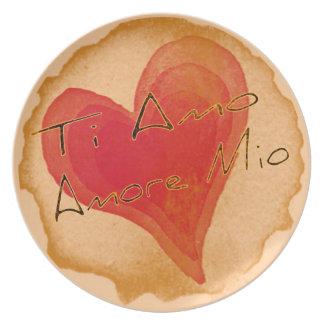 Ti Amo Amore Mio Melamine Plate