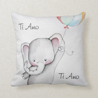 Ti Amo Baby Elephant Throw Pillow
