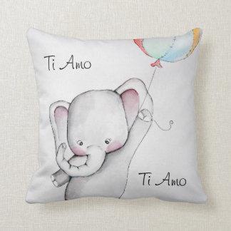 Ti Amo Baby Elephant Throw Pillow