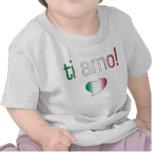 ¡Ti Amo! Colores de la bandera de Italia Camisetas