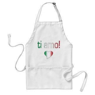 ¡Ti Amo! Colores de la bandera de Italia Delantal