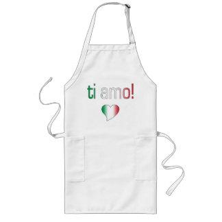 ¡Ti Amo Colores de la bandera de Italia Delantal