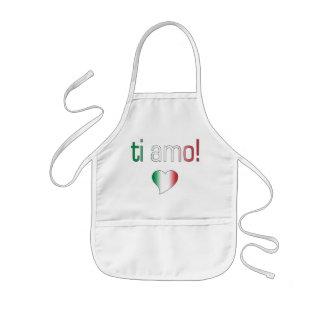 ¡Ti Amo! Colores de la bandera de Italia Delantal Infantil