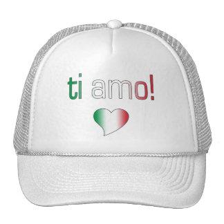 ¡Ti Amo! Colores de la bandera de Italia Gorro De Camionero