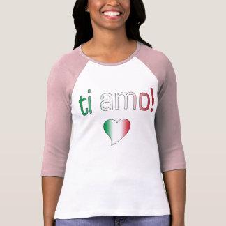 ¡Ti Amo! Colores de la bandera de Italia Playeras