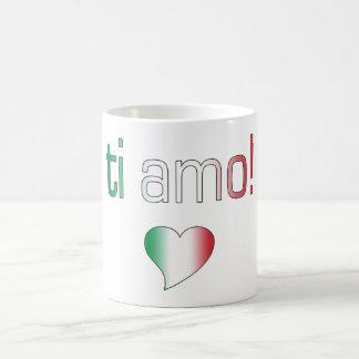 ¡Ti Amo! Colores de la bandera de Italia Taza