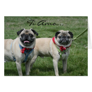 Ti Amo I Love you pug greeting card