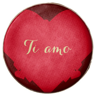 Ti amo I Love You Wedding Valentines Day Red Heart Chocolate Covered Oreo
