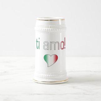 Ti Amo! Italy Flag Colors 18 Oz Beer Stein