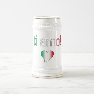Ti Amo! Italy Flag Colors Beer Stein