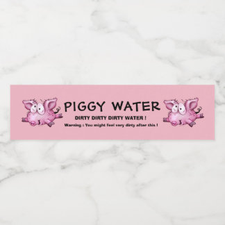 Ti-PIG CARTOON WATER LABLE BOTTLE 2 Water Bottle Label