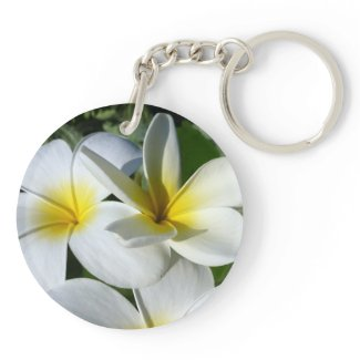 ti plant flowers yellow white acrylic key chains