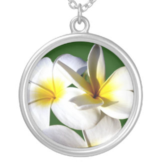 ti plant flowers yellow white green back silver plated necklace